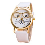 d4eeaec8280b Cat Light Pink Wristwatch with 3-D Race Look Glasses White Band, Watch-