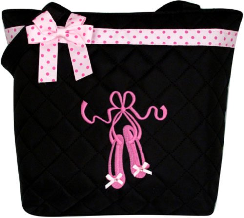 Girl's Black Quilted Dance Ballet Slippers Tote Bag w/ Pink Polka Dot Bow BG806 ()