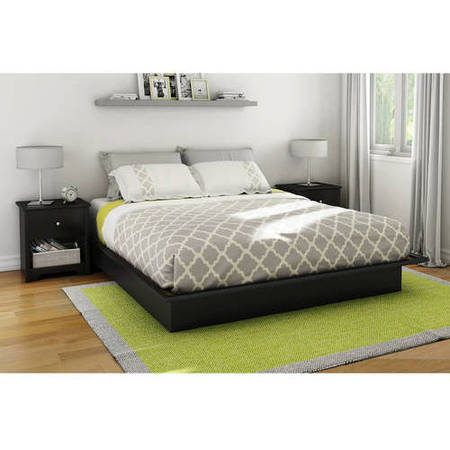 - South Shore Basics Platform Bed with Molding, Multiple Sizes and Finishes