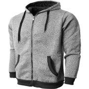 Mens Marled Zip Up Hoodie Jacket Textured Brushed Fleece Soft Lightweight Sweater