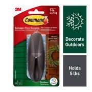 Command Outdoor Metallic Bronze Hook, Large, 1 Hook, 2 Strips/Pack