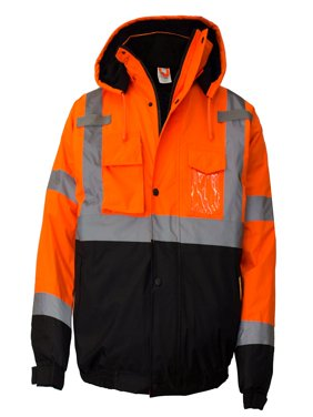 Men's ANSI Class 3 High Visibility Bomber Safety Jacket, Waterproof - Orange / Extra Large