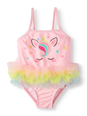 Unicorn Tutu One Piece Swimsuit (Baby Girls)