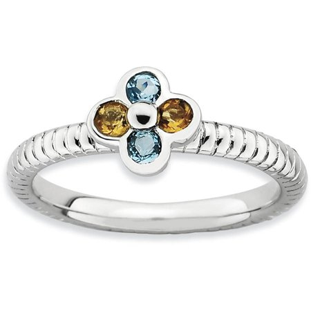 Blue Topaz and Citrine Sterling Silver Flower Ring