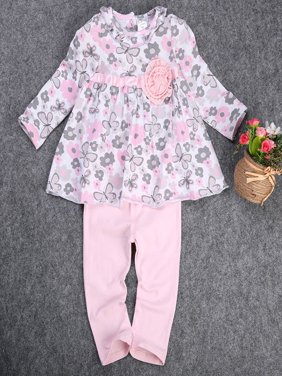 New 12 18 24 Months Floral Peplum Dress + Pant Outfit Baby Girl Clothes Set 2PCS