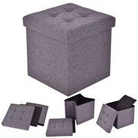 Costway Folding Storage Cube Ottoman Seat Stool Box Footrest Furniture Decor Dark Gray