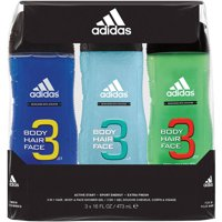 3-Pc. Adidas 3 in 1 Body Hair & Face Shower Gel for Men Gift Set