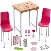 Barbie Furniture and Pet Set with Dining Table and Two Chairs