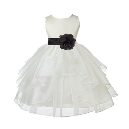 Ekidsbridal Formal Satin Shimmering Organza Ivory Flower Girl Dress Bridesmaid Wedding Pageant Toddler Recital Easter Communion Graduation Reception Ceremony Birthday Baptism Occasions 4613s - Black And White Dresses Girls