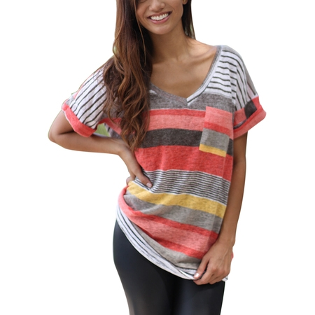 Plus Size Womens Casual V Neck Colorful Striped T Shirt Ladies Short Sleeve Blouse Tops Casual Tee - Halloween Tee Shirts Plus Size