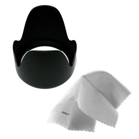 Fujifilm FinePix S1 Pro Digital Lens Hood (Flower Design) (72mm) + Filter/Hood Adapter Ring + Nw Direct Microfiber Cleaning Cloth. 72mm Step Down Ring