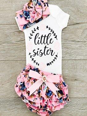 Newborn Infant Baby Girls Outfit Clothes Tops Romper Jumpsuit Bodysuit+Pants Set