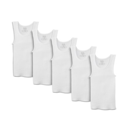 Solitaire White Fruit - Fruit of the Loom White Tank A-Shirts, 5 Pack (Little Boys & Big Boys)