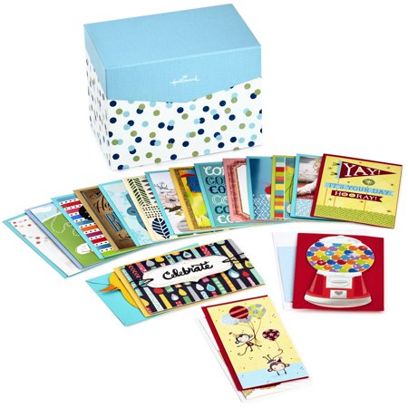 Hallmark All Occasion Boxed Greeting Card Assortment, 20-ct. with Dividers (Blue & Green (Card Box Ideas)