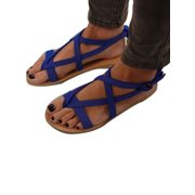 4138223ed66a2 Women Ankle Strap Gladiator Low Flat Heel Sandals Summer Beach Flip Flops  Shoes
