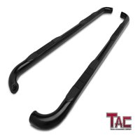 """TAC Side Steps for 2001-2018 Chevy Silverado / GMC Sierra 1500 / 2500 / 3500 Crew Cab Truck Pickup (Excl. C/K """"Classic"""") 3"""" Black Side Bars Nerf Bars Running Boards"""