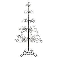 7-Ft Black Wrought Iron Christmas Tree- 5 levels, 41 x 41 x 84-inch. Easy Assembly, Multipurpose