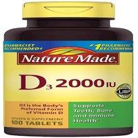 2 Pack - Nature Made Vitamin D3 2000 IU Tablets 100 ea