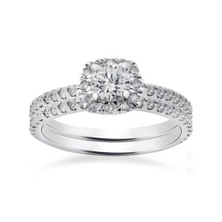1ct Cushion Halo Diamond Engagement Wedding Ring Set 14K White