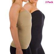 950fd9dfd3 2-Pack Women Sleeveless Strapless Tube Top Long Bandeau Basic Summer Shirts