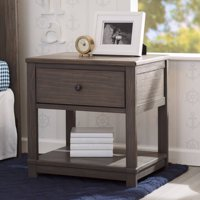 Delta Children Cali Nightstand with Drawer and Shelf, Rustic Grey