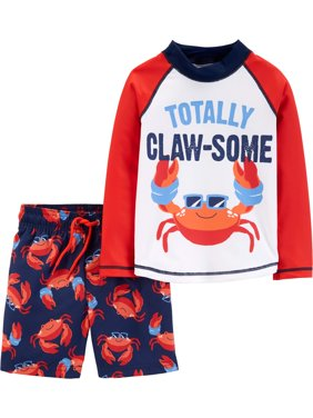 Long Sleeve Shirt and Shorts Rashguard, 2 piece swim set (Toddler Boys)