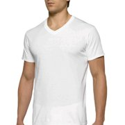 Mens Short Sleeve V-Neck White T-Shirt, 6-Pack
