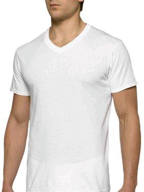 Mens Short Sleeve V-Neck White T-Shirt, 6-Pack