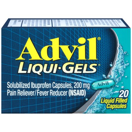 Advil Liqui-Gels (20 Count) Pain Reliever / Fever Reducer Liquid Filled Capsule, 200mg Ibuprofen, Temporary Pain Relief ()