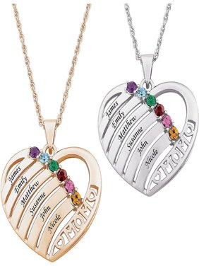 Family Jewelry Personalized Mother's Mother Birthstone & Name Heart Necklace, 20""