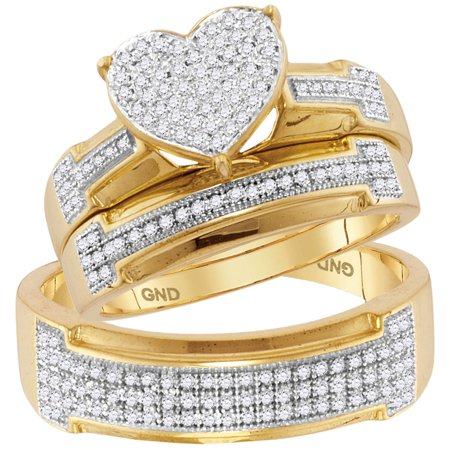 10kt Yellow Gold His & Hers Round Diamond Heart Cluster Matching Bridal Wedding Ring Band Set 1/2 -