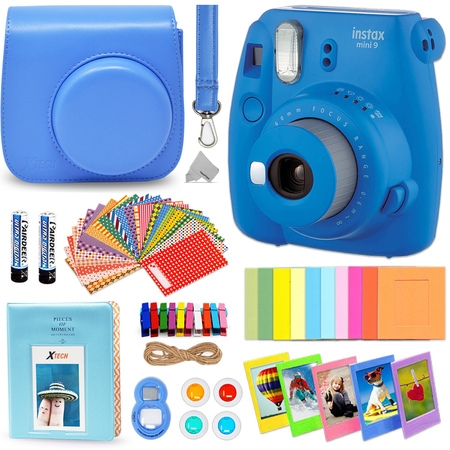 Fujifilm Instax Mini 9 Instant Fuji Camera (COBALT BLUE) + Accessories Bundle + Custom Matching Case w/Neck Strap + Photo Album + Assorted Frames + 4 Color Filters + 60 Sticker Frames +