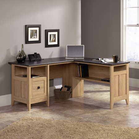 Sauder August Hill L-Desk, Dover Oak Computer Credenza Sauder Office Furniture