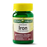 (3 Pack) Spring Valley Iron Supplement Slow Release Tablets, 45 mg, 30 Ct