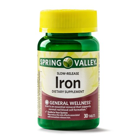 - Spring Valley Iron Supplement Slow Release Tablets, 45 mg, 30 Ct
