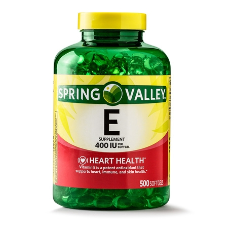 Spring Valley Vitamin E Supplement, 400IU, 500 Softgel Capsules Beta Carotene Softgels Antioxidant Vitamins