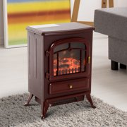 "HOMCOM 16"" 1500 Watt Free Standing Electric Wood Stove Fireplace Heater - Red Brown"