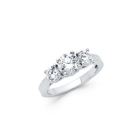 Sterling Silver Engagement Anniversary Ring - FB Jewels 925 Sterling Silver Polished 3 Stone Cubic Zirconia CZ Anniversary Wedding Engagement Ring Size 5.5