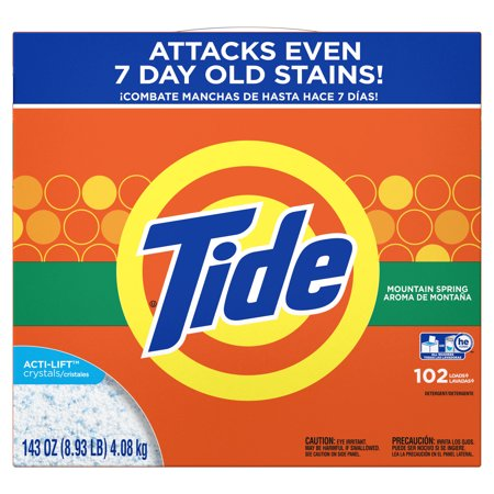 Tide Powder Laundry Detergent, Mountain Spring, 102 loads, 143 oz