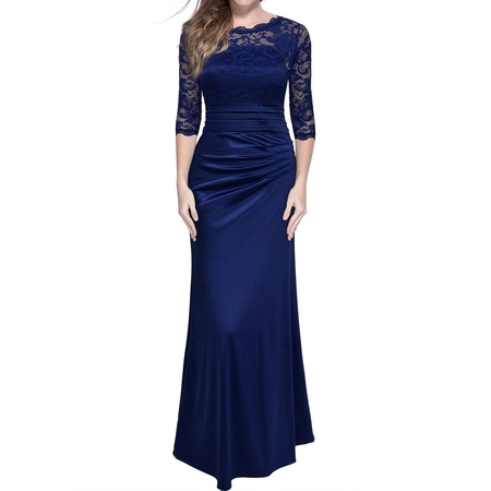 MIUSOL Women's Retro Floral Lace Vintage 2/3 Sleeve Slim Ruched Wedding Maxi Dresses for Women (Navy Blue 3XL)