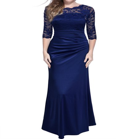 MIUSOL Women's Retro Floral Lace Vintage 2/3 Sleeve Slim Ruched Wedding Maxi Dresses for Women (Navy Blue