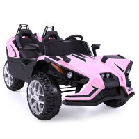 Uenjoy Kids Ride on Cars 12V Electric Motorized Vehicles Large Truck with Remote Control 2 Speed Pink
