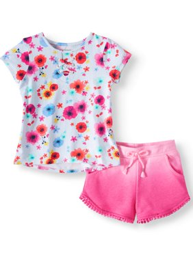 Lace-Up Top & Soft Knit Dolphin Shorts, 2pc Outfit Set (Toddler Girls)