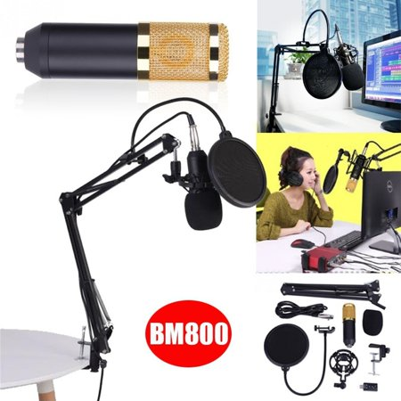 WALFRONT BM800 Studio Condenser Microphone Arm Stand Pop Filter Foam Cap Kit Record Accessory, Condenser Microphone, Studio Condenser Microphone