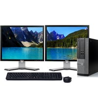"Dell Optiplex 390 Desktop PC Tower Bundle Intel 3.1Hz Processor 8GB Ram 1TB Hard Drive DVDRW Windows 10 Professional with 22"" Dual Screen Dell LCD's -Refurbished Computer"