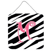 Letter M Initial Zebra Stripe And Pink Wall Or Door Hanging Prints