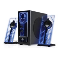 Bluetooth 2.1 Computer Speakers with Bass Subwoofer , Glowing Blue LED Lights and 33 Foot Wireless Range - GOgroove BassPULSE - Connect your Desktop PC , Laptop , Smartphone , Tablet and More Devices