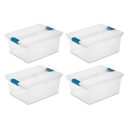 Sterilite Deep Clip Box Clear Plastic Storage Tote Container with Lid, 4 Pack](Clear Plastic Boxes)