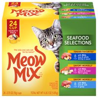 Meow Mix Seafood Selections Variety Pack Cat Food, 2.75 Ounce, 24-Pack