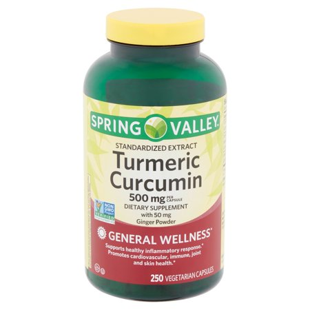 Spring Valley Standardized Extract Turmeric Curcumin Vegetarian Capsules, 500 mg, 250 count (Extract 180 Capsules)